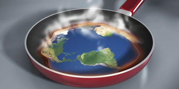 Global warming concept with earth melted down in a frying pan. High resolution 3D rendering.World map's obtained from the Nas