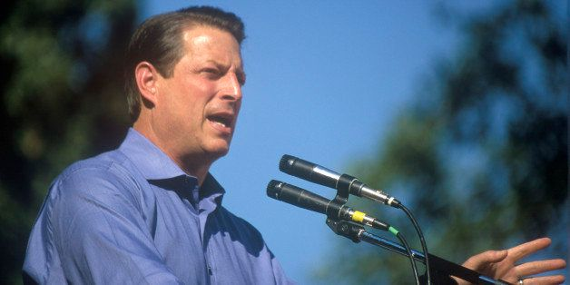 Vice President Al Gore campaigns for the Democratic presidential nomination at Lakewood Park in Sunnyvale, California (Photo