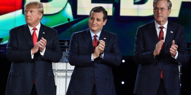 Republican presidential candidates (L-R) businessman Donald Trump, Texas Sen. Ted Cruz, and  former Gov. Florida Jeb Bush cla