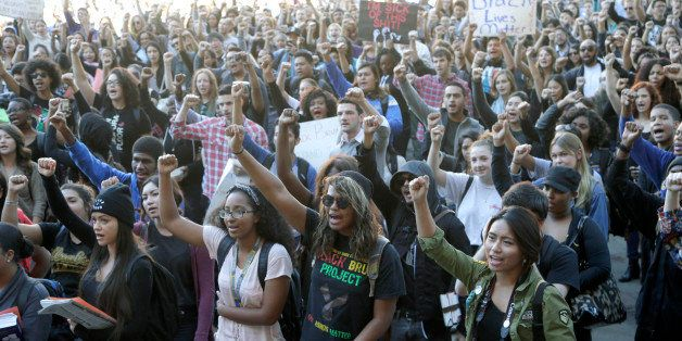 University California Los Angeles students stage a protest rally in a show of solidarity with protesters at the University of