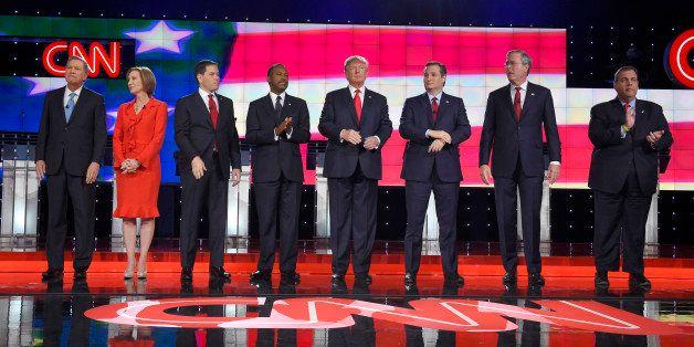Republican presidential candidates, from left, John Kasich, Carly Fiorina, Marco Rubio, Ben Carson, Donald Trump, Ted Cruz, J