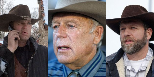 FILE - This is a combo of file photos showing the Bundy family from left to right, Ryan Bundy, Cliven Bundy and Ammon Bundy.