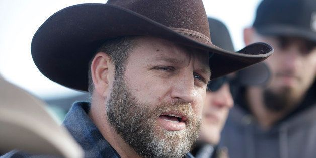 Ammon Bundy, one of the sons of Nevada rancher Cliven Bundy, speaks to reporters during a news conference at Malheur National