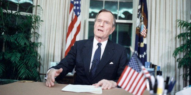 U.S. President George H. Bush addresses the nation from the Oval Office, Wednesday, Jan. 16, 1991 in Washington, after U.S. f