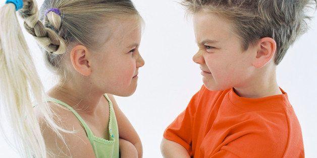 Children having face off