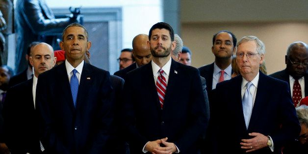 WASHINGTON, DC - DECEMBER 09:  US President Barack Obama (L) stands next to Speaker of the House Paul Ryan (C) and Senate Maj