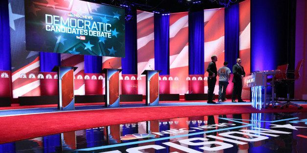 CHARLESTON, SC - JANUARY 17:  The stage at the Gaillard Center is prepared for tonight's Democratic debate on January 17, 201