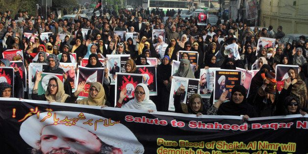FILE -- In this Sunday, Jan. 3, 2016 file photo, Shiite Muslims take part in a rally to condemn the execution of Saudi Shiite