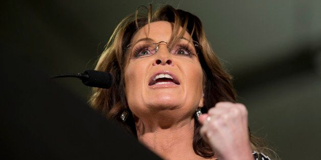 Former Alaska Gov. Sarah Palin speaks during a rally where she endorses Republican presidential candidate Donald Trump at the