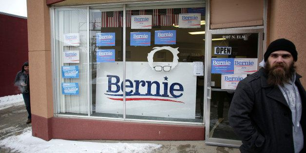 CRESTON, IA - JANUARY 22: A man stands outside the headquarters for Democratic presidential candidate Bernie Sanders on Janua