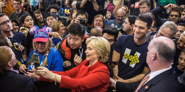WEST DES MOINES, IA - JANUARY 24: Democratic presidential candidate Hillary Clinton greets audience members following a campa