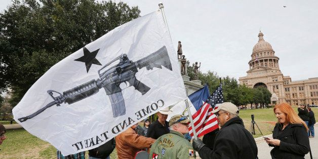 AUSTIN, TX - JANUARY 1: On January 1, 2016, the open carry law took effect in Texas, and 2nd Amendment activists held an open