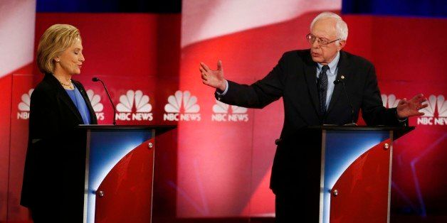 Democratic presidential candidate, Sen. Bernie Sanders, I-Vt,  answers a question as Democratic presidential candidate, Hilla