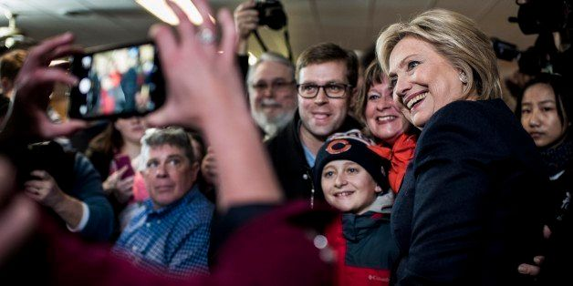 Adel, IA - JANUARY 27: Former Secretary of State Hillary Clinton meets Iowa voters at Adel Family Fun Center in Adel, Iowa on