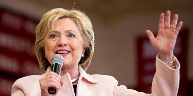 Democratic presidential candidate Hillary Clinton speaks at a rally at Grand View University in Des Moines, Iowa, Friday, Jan
