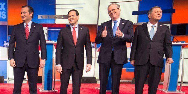 Republican Presidential candidates (L-R) Texas Senator Ted Cruz, Florida Senator Marco Rubio, former Florida Gov. Jeb Bush, a