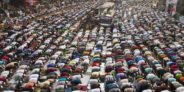DHAKA, BANGLADESH - JANUARY 8: Hundreds of Muslims take friday prayers in congregation grounds as Muslims take part in Biswa