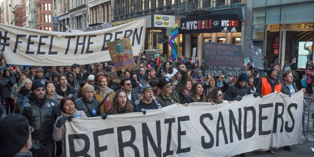 MANHATTAN, NEW YORK, NY, UNITED STATES - 2016/01/30: Demonstrators hold signs and chant in support of Bernie Sanders. Support