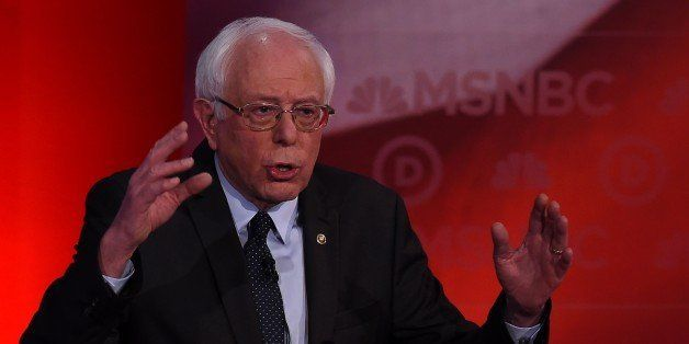 US Democratic presidential candidate Bernie Sanders speaks during the MSNBC Democratic Candidates Debate with Hillary Clinton