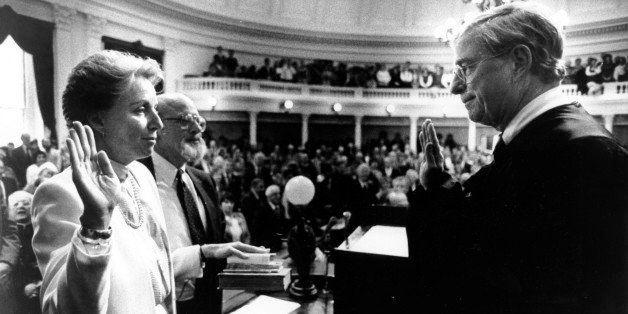 Madeleine Kunin is sworn in by Supreme Court Chief Justice Fred Allen at the Statehouse in Montpelier, Vt. on Jan 10, 1984.