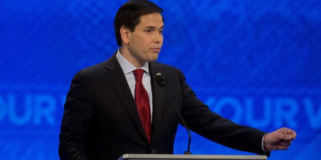Senator Marco Rubio, a Republican from Florida and 2016 presidential candidate, speaks during the Republican presidential can