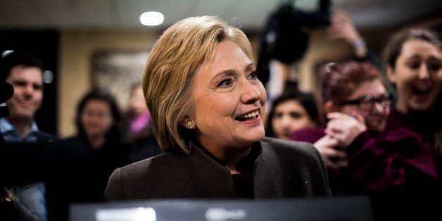 MANCHESTER, NH - Former Secretary of State Hillary Clinton stops at Puritan Backroom for Super Bowl food and to meet New Hamp