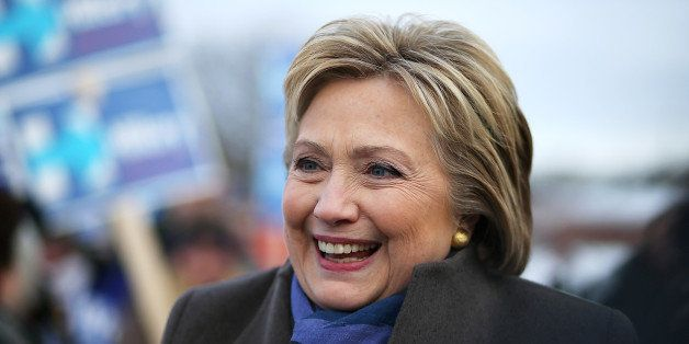 NASHUA, NH - FEBRUARY 09:  Democratic presidential candidate former Secretary of State Hillary Clinton greets voters outside