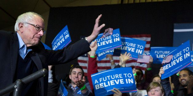 NASHUA, NEW HAMPSHIRE-FEBRUARY 8 : Bernie Sanders makes his entrance at a Get Out the Vote Rally at Daniel Webster Community