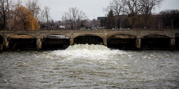 FLINT, MI - FEBRUARY 7:  The Flint River is shown on February 7, 2016 in Flint, Michigan. Months ago the city told citizens t