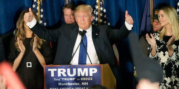Republican presidential candidate, businessman Donald Trump gives thumbs up to supporters during a primary night rally, Tuesd