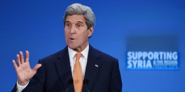 US Secretary of State John Kerry addresses delegates during during a donor conference entitled 'Supporting Syria & The Region