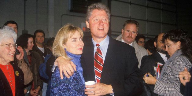 Bill and Hillary Clinton at a St Louis campaign rally in 1992, Bill Clinton's final day of campaigning in St Louis, Missouri