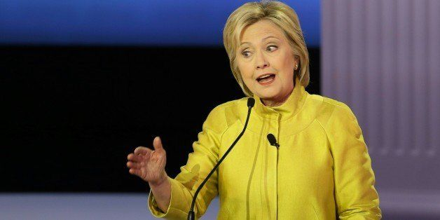 US Democratic presidential candidate Hillary Clinton participates in the PBS NewsHour Presidential Primary...