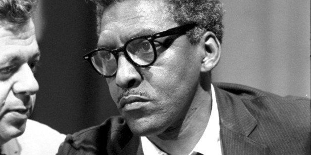 UNSPECIFIED - CIRCA 1754: Bayard Rustin (1912-1987), American civil rights activist. Rustin in the Statler Hotel at a news br