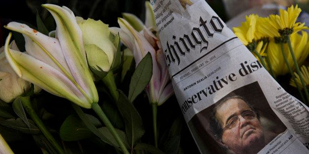WASHINGTON, DC - FEBRUARY 14:  A makeshift memorial for Supreme Court Justice Antonin Scalia is seen at the U.S. Supreme Cou