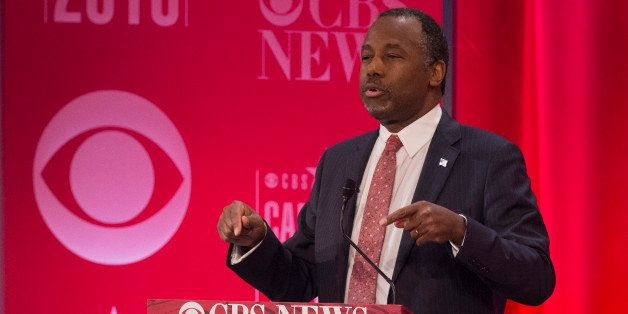 Republican presidential candidate Ben Carson speaks during the CBS News Republican Presidential Debate in Greenville, South C