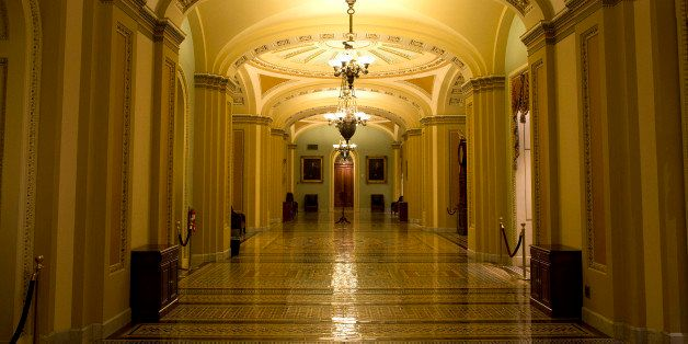 A hallway outside the Senate chamber is empty during the tenth hour of a floor speech by Sen. Ted Cruz, R-Texas, on Wednesday