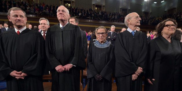 From left, Chief Justice  John G. Roberts and Supreme Court justices Anthony M. Kennedy, Ruth Bader Ginsburg, Stephen G. Brey