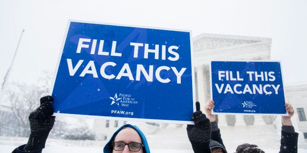 UNITED STATES - FEBRUARY 15: Activists with the People For the American Way hold a demonstration outside of the Supreme Court