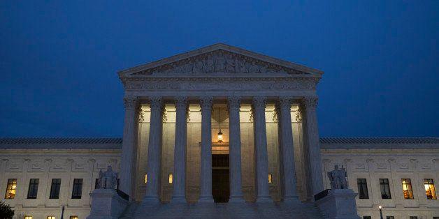 WASHINGTON, DC - FEBRUARY 14:  The U.S. Supreme Court is seen in at dusk on February 14, 2016 in Washington, DC. Supreme Cou