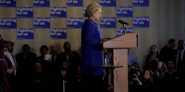 CHICAGO, IA - FEBRUARY 27 : Democratic presidential candidate Hillary Clinton speaks during a campaign event at the Parkway B