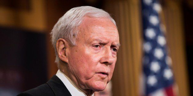 WASHINGTON, USA - FEBRUARY 11: Senator Orrin Hatch speaks during a press conference on the Internet Tax Ban and Customs Repor