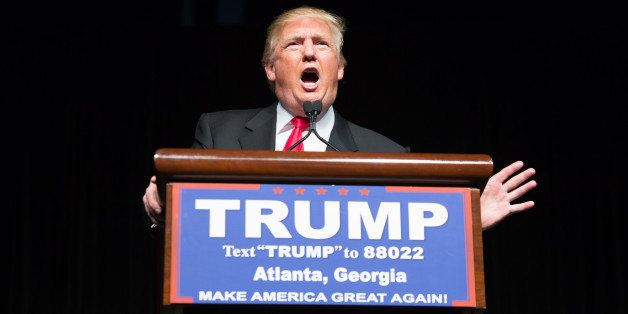 ATLANTA, GEORGIA-  FEBRUARY 21: Republican presidential candidate Donald Trump speaks during a campaign rally at the Georgia