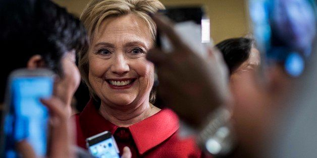 LAS VEGAS, NV - On Democratic Nevada caucus day, former Secretary of State Hillary Clinton meets excited employees at Harrah'