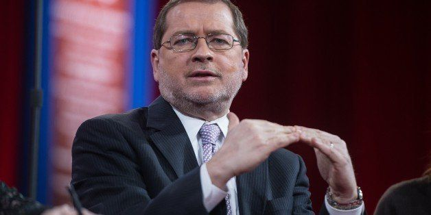 Grover Norquist, founder and president of Americans for Tax Reform, participates in a session on 'Strategic Communication' at the annual Conservative Political Action Conference (CPAC) at National Harbor, Maryland, outside Washington, on February 26, 2015. AFP PHOTO/NICHOLAS KAMM (Photo credit should read NICHOLAS KAMM/AFP/Getty Images)