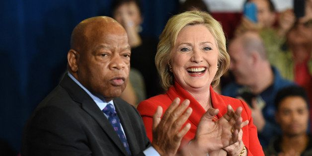 LAS VEGAS, NV - FEBRUARY 14:  U.S. Rep. John Lewis (D-GA) (L) and Democratic presidential candidate Hillary Clinton are intro