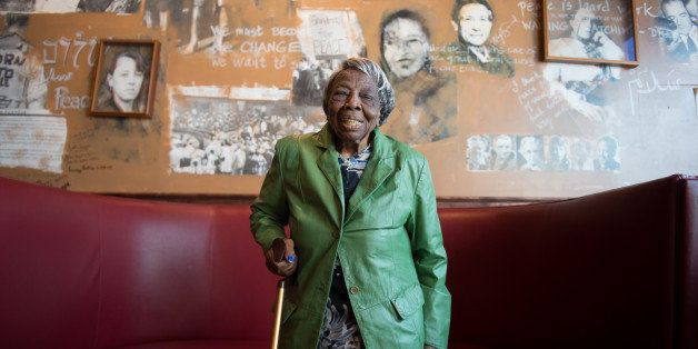 WASHINGTON, DC - FEBRUARY 22:  106 year-old Virginia McLaurin in Busboys and Poets on Feb 22, 2016 in Washington, DC.  A vide