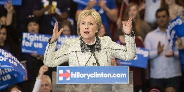 US Democratic presidential candidate Hillary Clinton speaks at a primary night rally in Columbia, South Carolina, on February