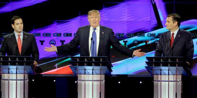 Republican presidential candidate, businessman Donald Trump, speaks as Republican presidential candidate, Sen. Marco Rubio, R