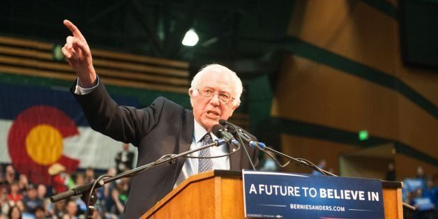 US Democratic presidential candidate Bernie Sanders addresses a rally at Colorado State University's Molby Areana in Ft. Coll